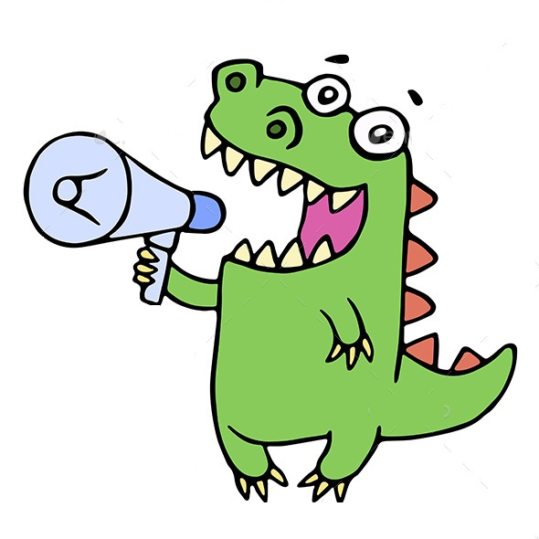 Funny smiling dinosaur shouting in megaphone. Vector illustration. Cute cartoon character.
